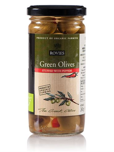 Rovies Organic Green Olives Stuffed with Peppers