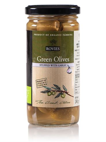 Rovies Organic Green Olives Stuffed with Garlic